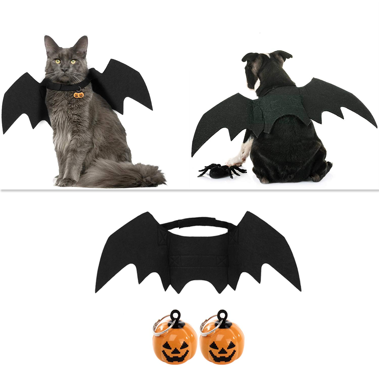 Outgeek Halloween Pet Costume Bat Wings Cosplay Dog Costume Cat Costume for Party