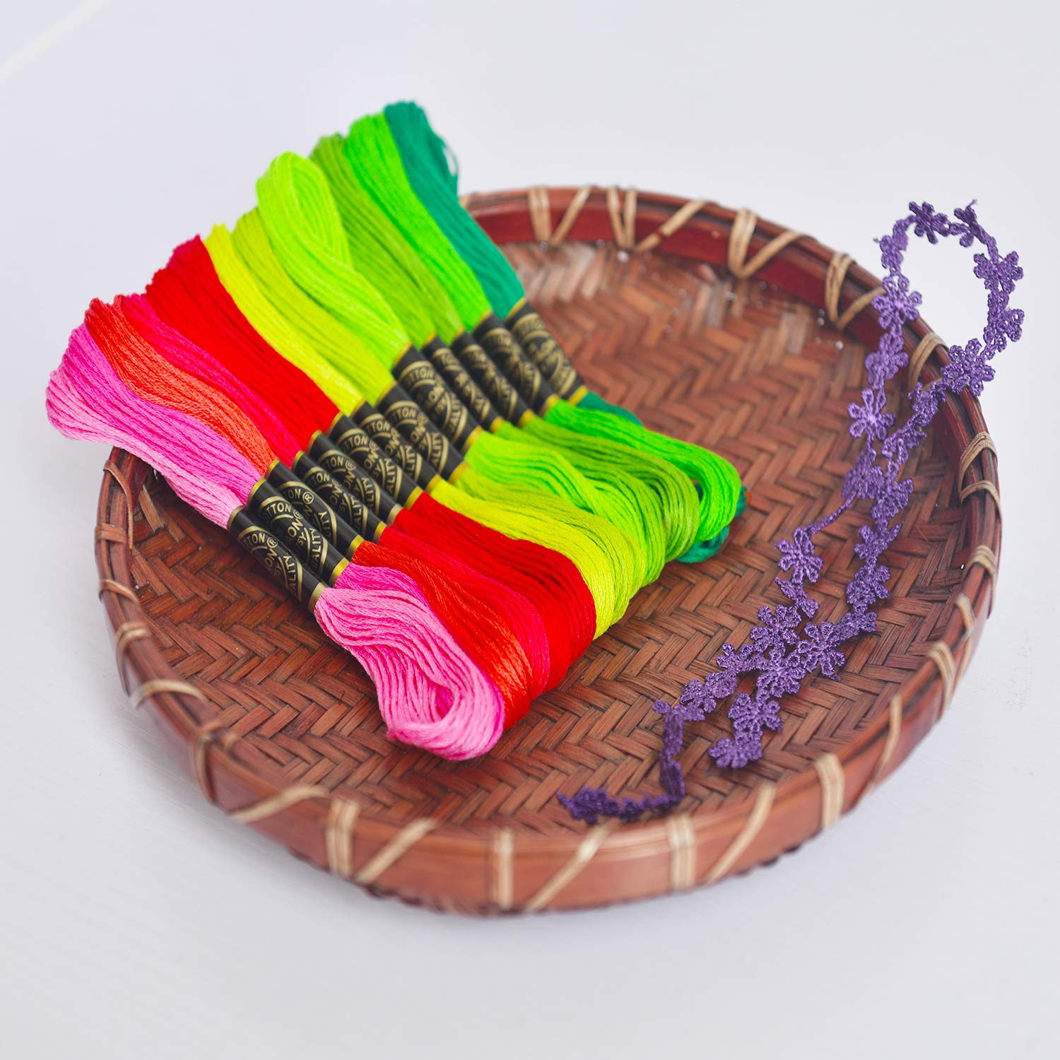Embroidery Floss Rainbow Color 2 Pack 50 Skeins Per Pack Cross Stitch Threads Friendship Bracelets Floss Crafts Floss