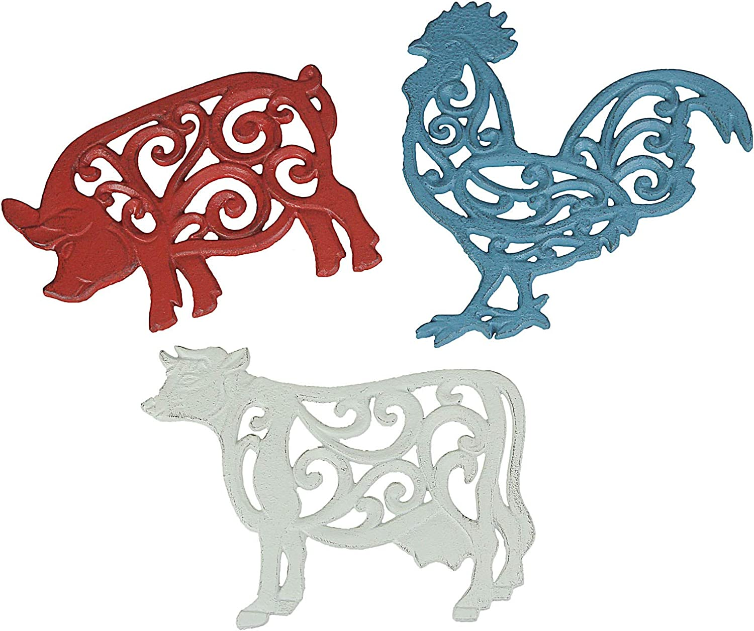 Set of 3 Cast Iron Farm Animal Kitchen Trivets Decorative Wall Hanging Art Rooster Cow Pig