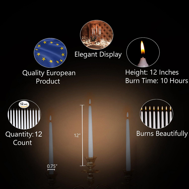 Bougie D/îner Unscented Paraffine avec du coton Wicks 10 heures Temps de combustion 12 pouces Turquoise Hyoola Paquet de 12 bougies Grand Dripless Bougie