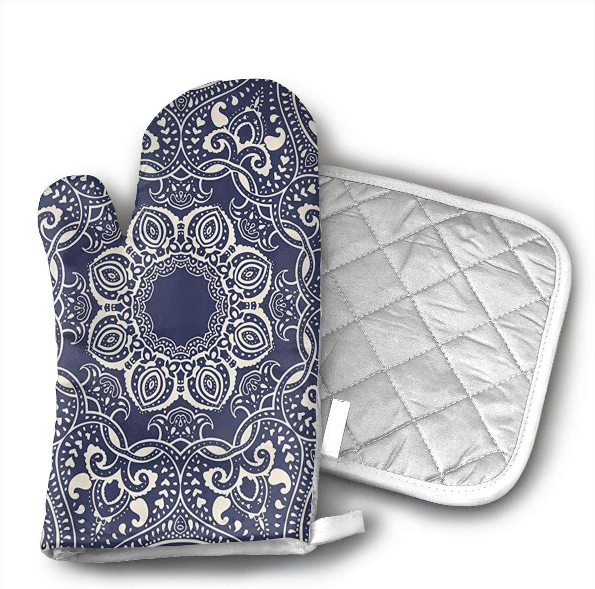 RBfhk Circular Pattern Summer Boho Bohemian Native Asian Oven Mitts Heat Resistant Potholders Cooking Gloves Non-Slip Barbecue Gloves,