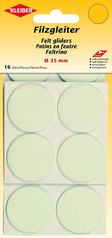 Kleiber Filzgleiter Durchmesser 35 mm, selbstklebend, Polyester, weiß , 3,5 x 3,5 x 0,3 cm 520-04