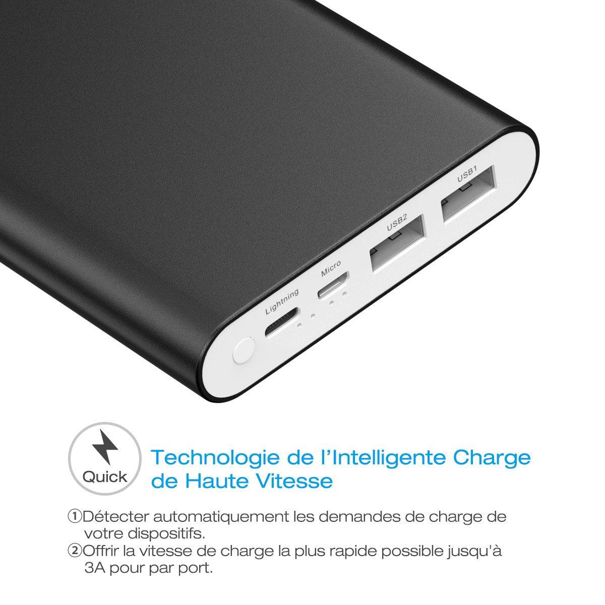 POWERADD 20000mAh Batterie Externe Deux Ports de Sortie (3A+3A) avec Deux Ports USB d\'entrée lightninh et Micro Recharge - Noir