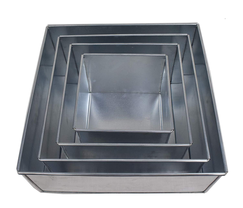 EUROTINS Professionelle Quadrat Kuchenformen 4er Set Backform cake pans/tins 6 8 10 12 by EURO TINS LTD CCT057