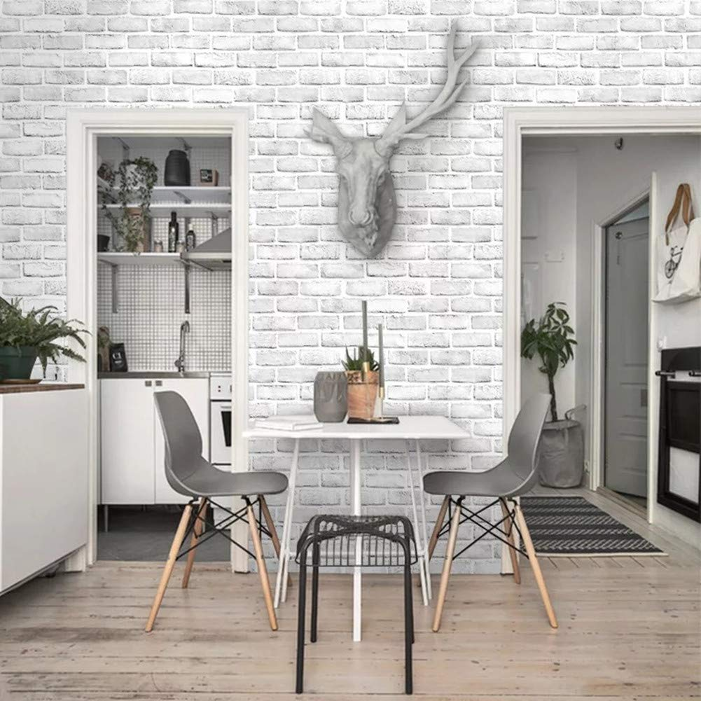 Yancorp White Gray Brick Wallpaper Grey Self-Adhesive Contact Paper Home Decoration Peel and Stick Backsplash Wall Panel Door Stickers Christmas Decor (18''x394'') by Yancorp (Image #2)