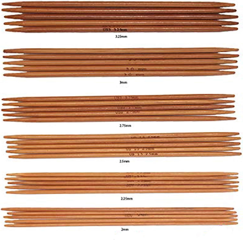 agujas fuertes doble punto de bambú set de 2.0 a 3.25 mm