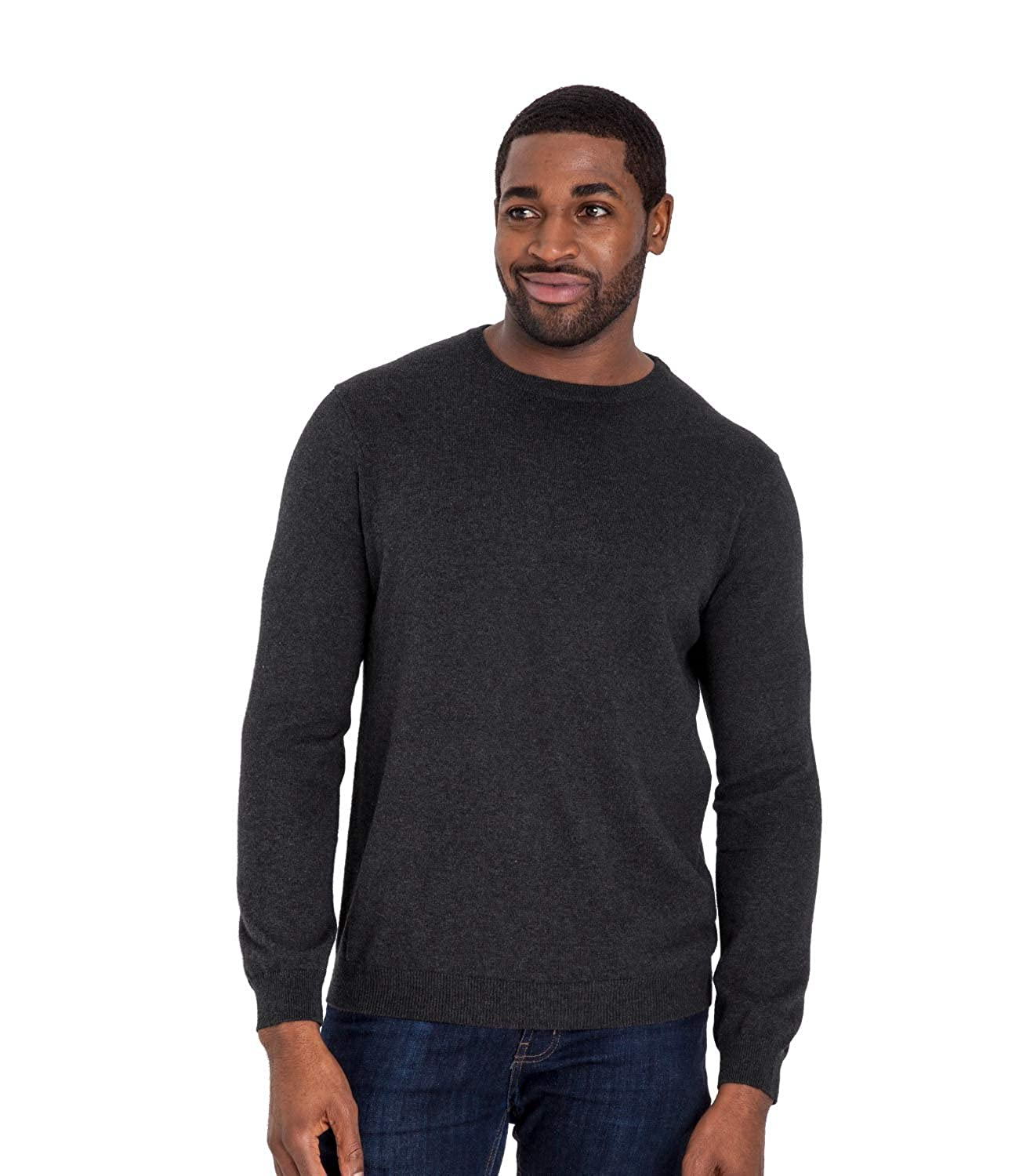 c394debb6f Amazon.com  WoolOvers Mens Cashmere and Cotton Crew Neck Sweater Charcoal