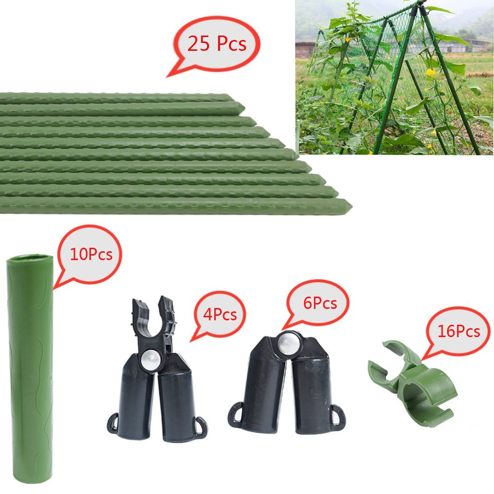 F.O.T Sturdy Metal Garden Stakes 25Pcs Gardening support 1.97 Ft Plastic Coated Plant Sticks (Climbing frame)