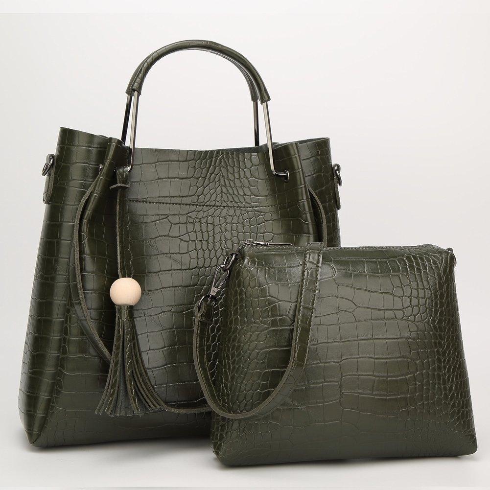 Mutter Eimer Tasche Schulter Messenger Handtasche Weibliche Paket Krokodil Muster Mutter Paket , Armeegrün