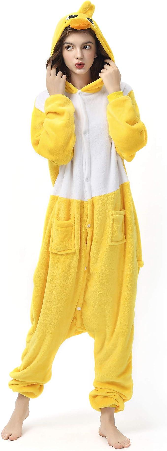 Katara- Pijamas Enteros Diferentes Animales y Tamaños, Adultos Unisex, Color Pato Amarillo, Talla 165-175cm (1744)