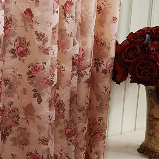 Amazon.com: Country Bloom Peony Print Floral Grommet Top Curtains ...