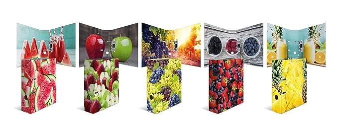 Archivador de cartón estampado Herma DIN A4, serie Frutas, color Set mit mehreren Motiven: Amazon.es: Oficina y papelería