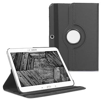kwmobile Funda compatible con Samsung Galaxy Tab 3 10.1 P5200/P5210 - Carcasa de cuero sintético para tablet en antracita