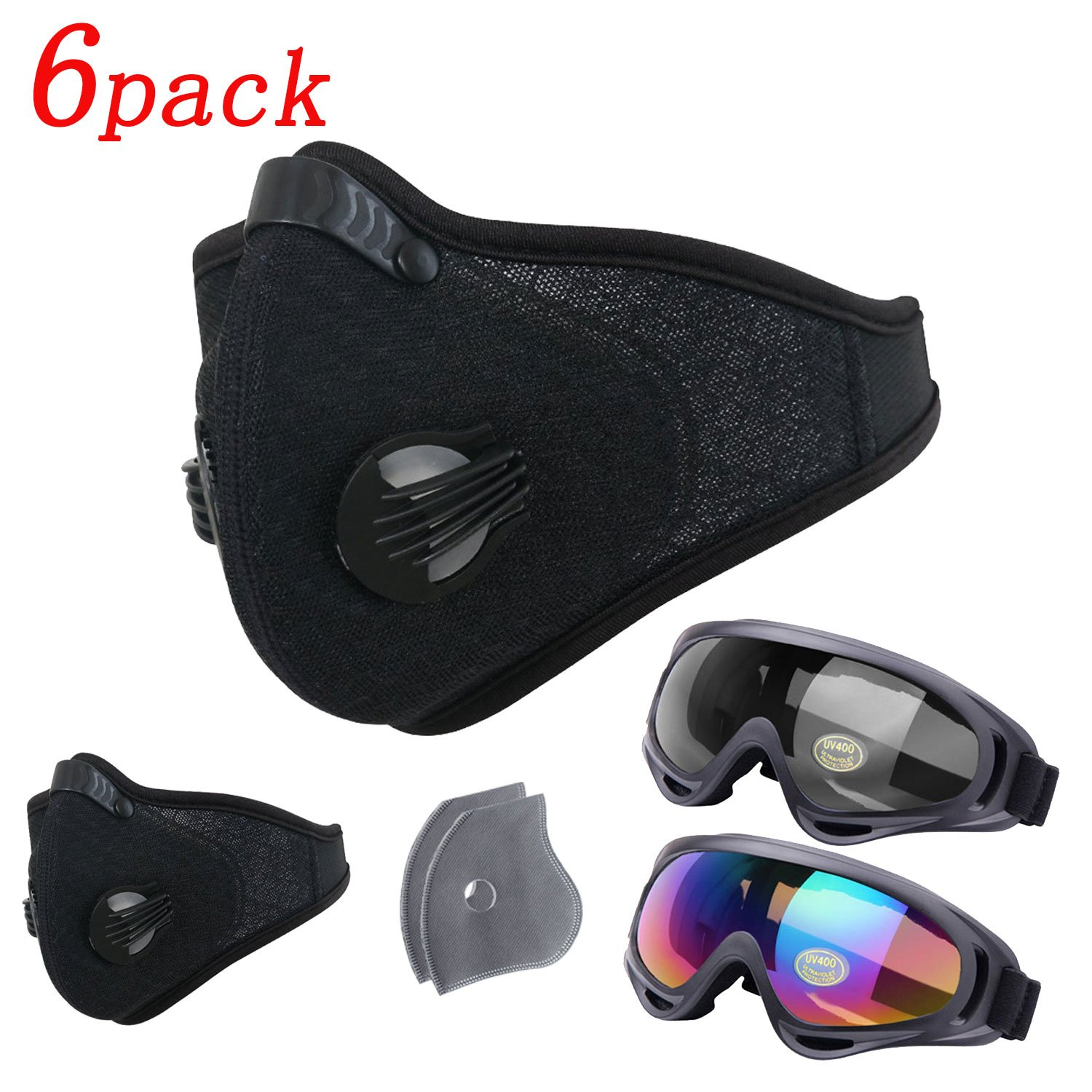 6Pack Activated Carbon Dustproof Mask – Include 2 Pack Safety Glasses 2 Pack Filter, Filtration Exhaust Gas Anti Pollen Allergy PM2.5 Dust Mask Air Filter for Running Cycling DIY Outdoor Activities