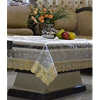 Kuber Industries Transparent Center Table Cover 4 Seater 40 * 60 Inches (Silver Lace)