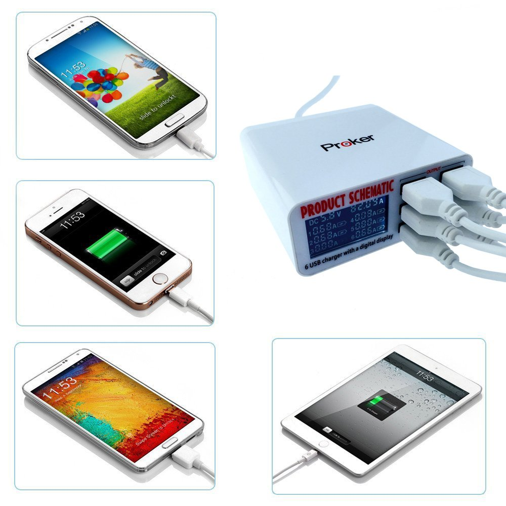 Usb Charger Portable Multi Port Rapid 6 Schematic Power Chargers Socket Fast With Lcd Display And Auto Detect Technology For Cell Phones