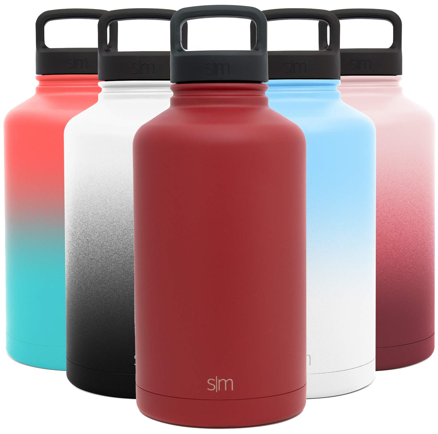 Simple Modern 64 Ounce Summit Water Bottle - Large Stainless Steel Half Gallon Flask +2 Lids - Wide Mouth Double Wall Vacuum Insulated Red Leakproof -Cherry Red