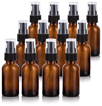 48573ce30bab 1 oz Amber Glass Boston Round Treatment Pump Bottle (12 Pack) + Funnel for  Essential Oils, Aromatherapy, Food Grade, bpa Free