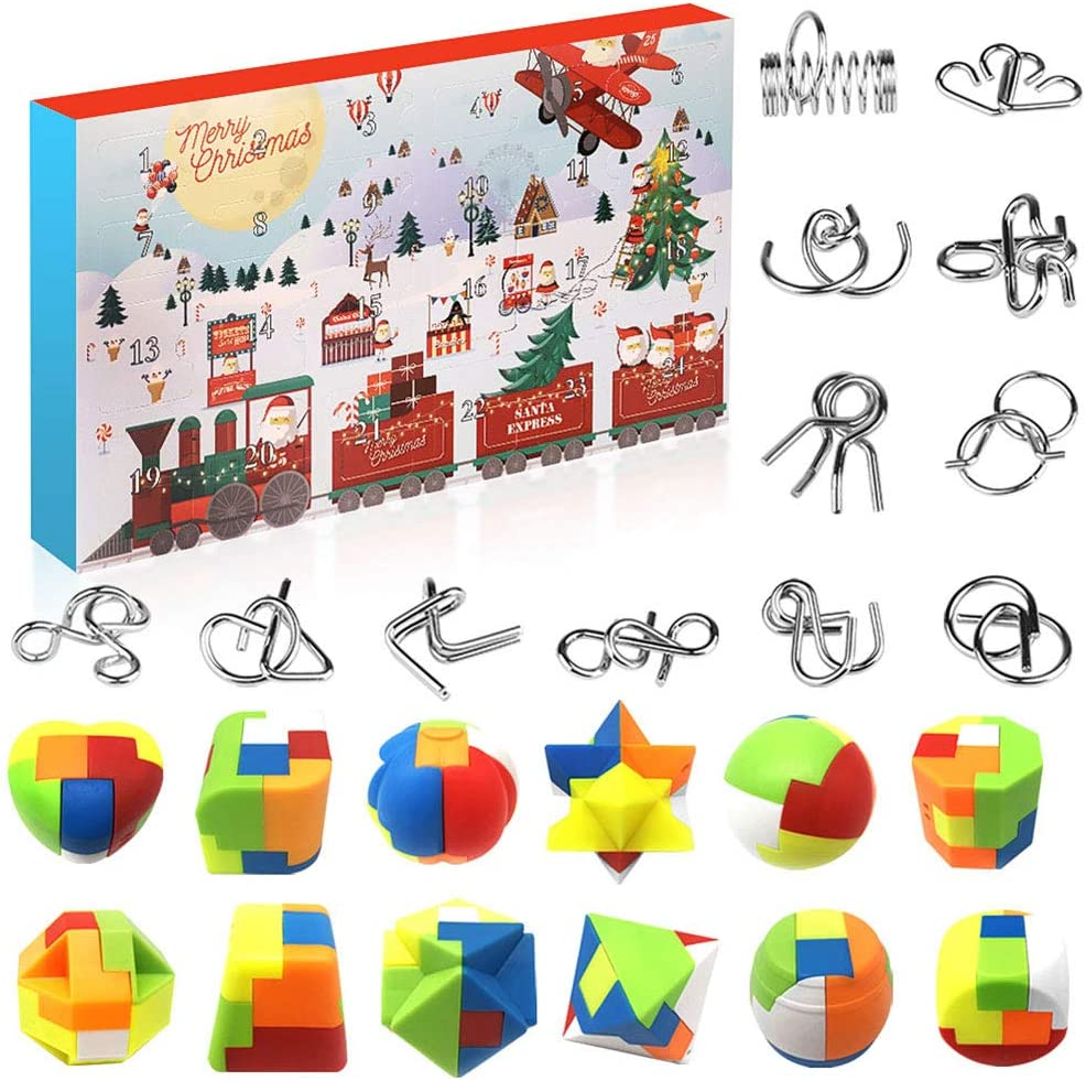 Metal Wire and Plastic Puzzles Advent Calendar 2020 Christmas Countdown Calendar Xmas Gift Box with 24 Pieces Magic Brain Teaser Toy Puzzles for Countdown Holiday Kids Teens Adults Challenge