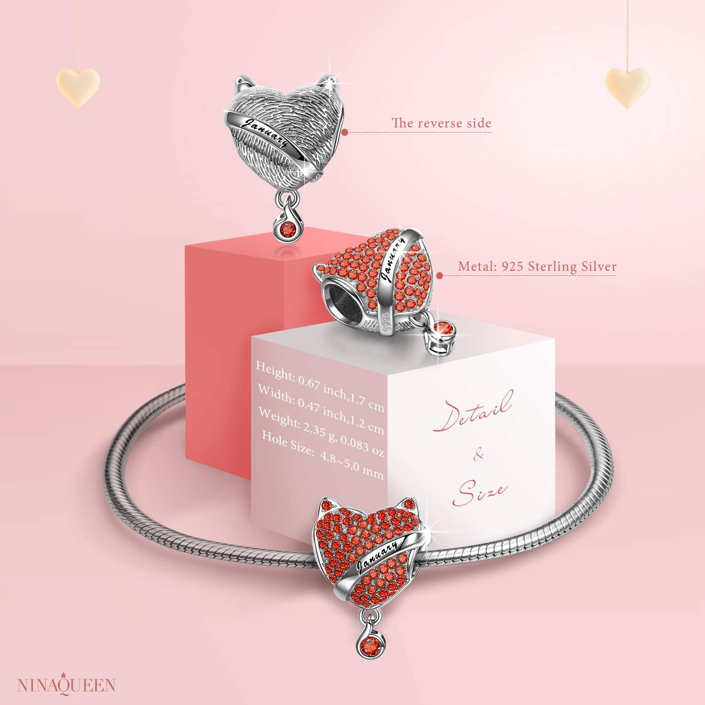 NINAQUEEN/® Charm et Perles Pierre de Naissance Argent Sterling 925 Lettrage avec Boite Cadeau Zircone