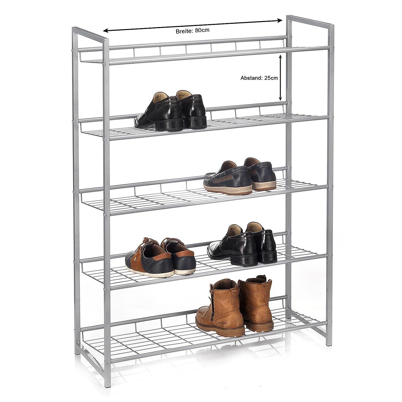 80 cm breit Metall Silber lackiert CARO-M/öbel Schuhregal System Schuhst/änder Schuhablage mit 2 F/ächern f/ür ca 8 Paar Schuhe