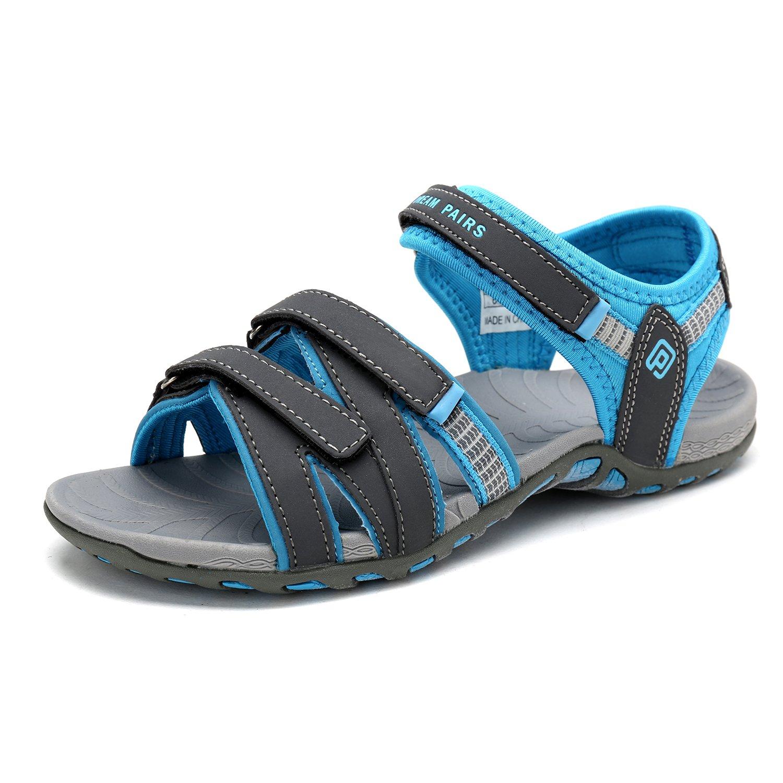 DREAM PAIRS Women's 160912-W Adventurous Summer Outdoor Sandals B0788VZP6X 9 B(M) US|Dk.grey/Sky Blue