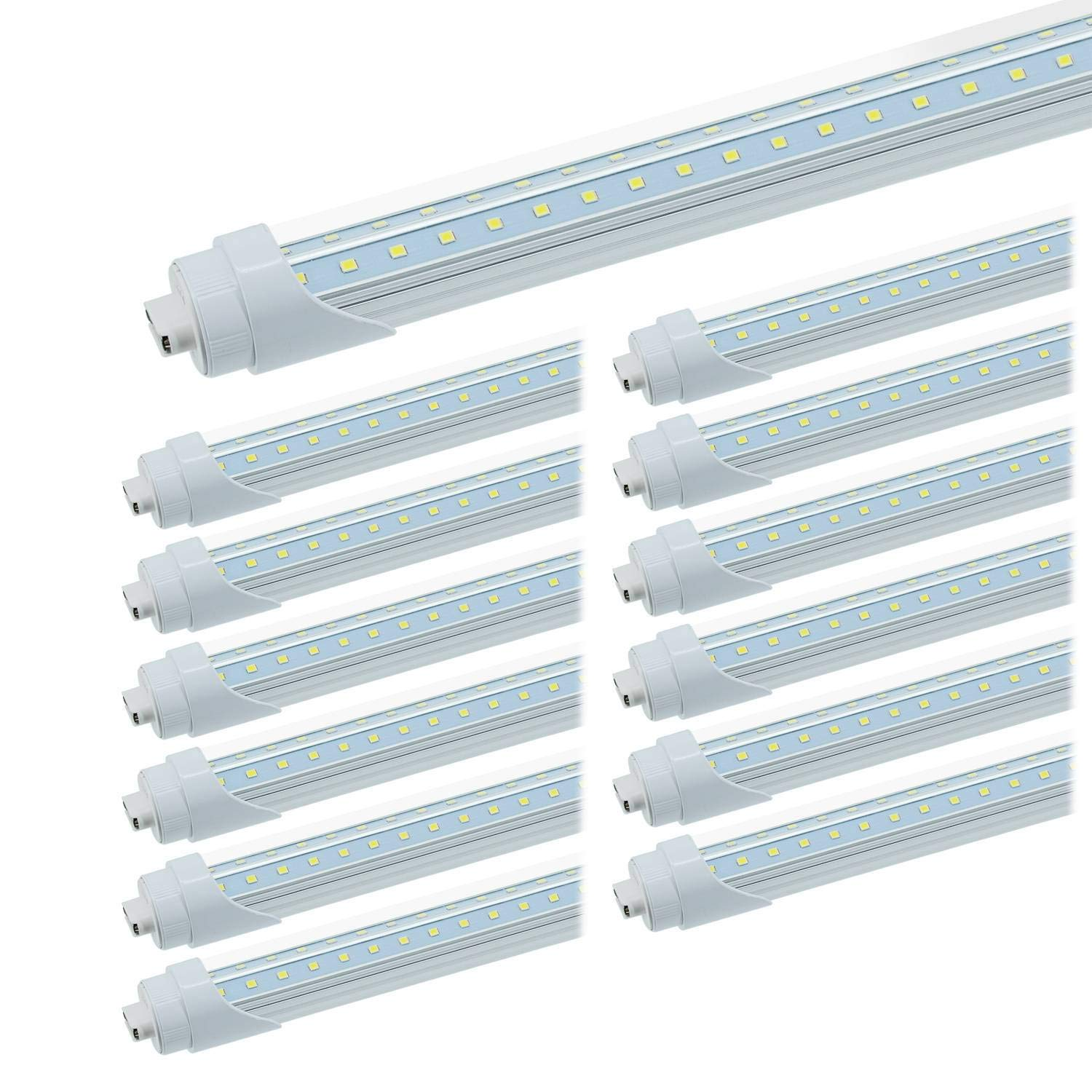 JESLED R17D/HO 8FT LED Bulbs - Rotate V shaped LED Tube Light, 50W 6000K Cool White, 6750Lumens, T8/T10/T12 Replacement, Clear Cover, 110W Equivalent F96T12/CW/HO, Ballast Bypass, Pack of 12
