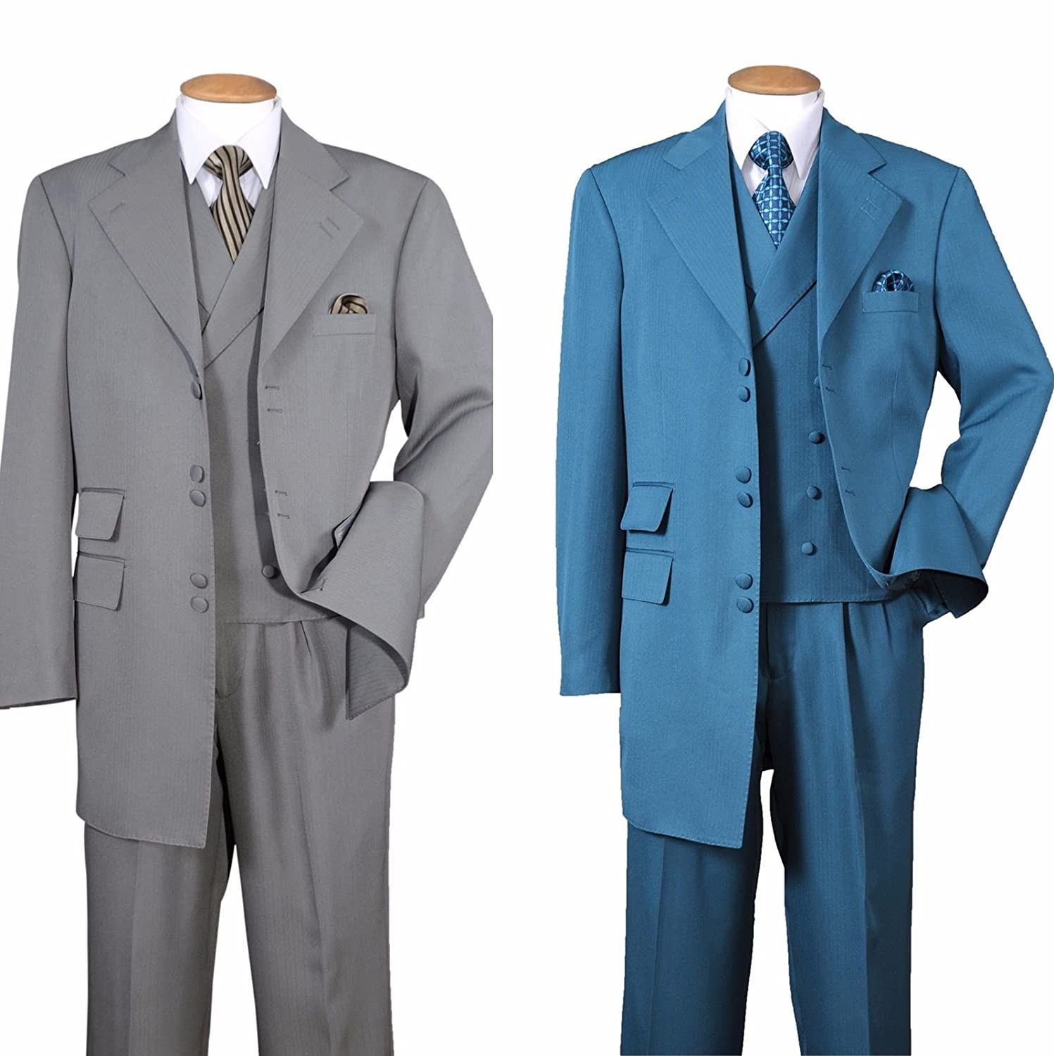 Fortino Landi Solid Zoot Suit With Double Breasted Vest 2917 at ...