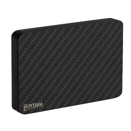 PITAKA Mini Cartera magnética Modular Hecha de Fibra de Carbono, RFID Bloquear, delgadez