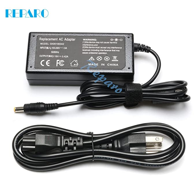 Reparo 65w Ac Laptop Adapter Charger for Gateway MD7818U MD7820U NE56 NE56R10U NE56R11U NE56R12U NE56R13U NE56R15U NE56R27U NE56R31U NE56R34U NE56R37U NE56R41U NE56R42U NE71B06U Power Supply Cord