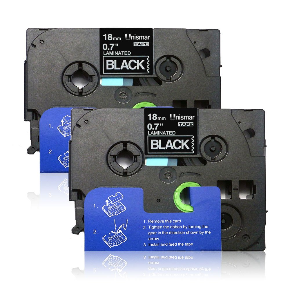 Unismar 2 Pack Compatible TZe-345 TZe345 TZ-345 TZ345 Laminated Tape White on Black 18mm (3/4'') Width 8m (26.2ft) Length for Brother P-Touch Label Makers & Printers (US-TZe345 2PK)
