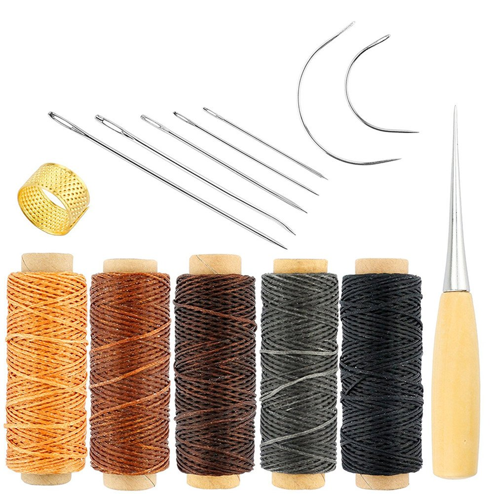 Promisy 14 Pieces Curved Upholstery Hand Sewing Needles Sewing Needles with Leather Waxed Thread Cord Drilling Awl and Thimble for Leather Repair