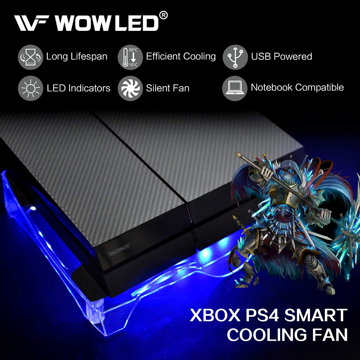 WOWLED Upgrade Sturdy LED Cooling Cooler Fan 3-Key Mini Controller PS4 Accessories Pro Cooling Fan, Xbox One X 360 Playstation 4 Sony Game Console PC, All-in-One USB RGB LED Fan Pad Stand Coolers by WOWLED (Image #4)