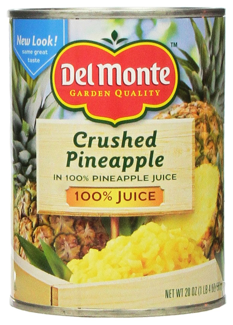 Del Monte CRUSHED PINEAPPLE in 100% Pineapple Juice 20oz (2 Pack)