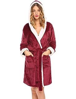 Hotouch Womens Hooded Bathrobe Fleece Robe Super Soft Plush Robe Velour  Bathrobe 734a9f704