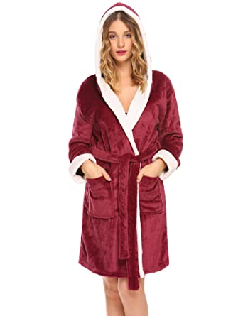 Hotouch Womens Kimono Robe Bath Robes Fleece Robe Long Hooded Bathrobe Wine  Red S 30f157effa