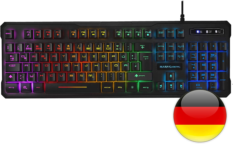 Mars Gaming MK218 Teclado, 9 Efectos RGB, Antighosting, Layout Alemán, Negro