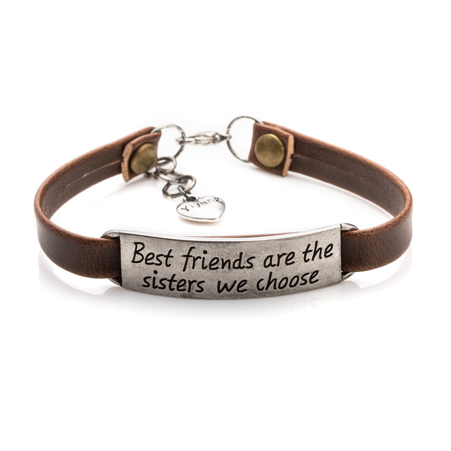 Yiyangjewelry Best Friend Gifts for Sister Inspirational Leather Bracelet Birthday Wedding Graduation Gifts(Brown Best friends are the sisters we choose)