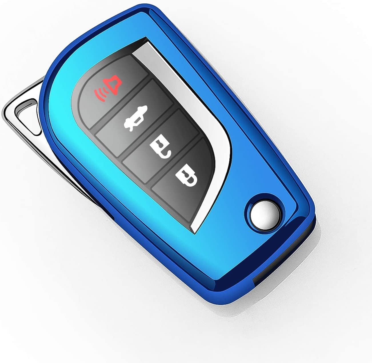 Autophone for Toyota Key Fob Cover with Keychain Soft TPU 360 Degree Protection Key Case Compatible with Toyota Fortuner tundra Camry RAV4 Highlander Corolla Smart Key Blue