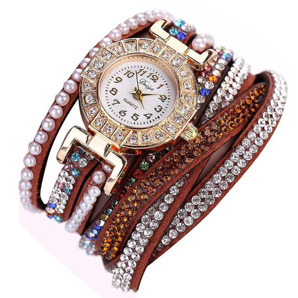 Brown Hunputa Ladies Watch Women Pearl Scale Bracelet Quartz Wristwatch Crystal Diamond Clock Women Dress Watch