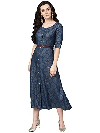 5afff136e7 Varanga blue gold printed flared Dress with a belt.  Amazon.in ...