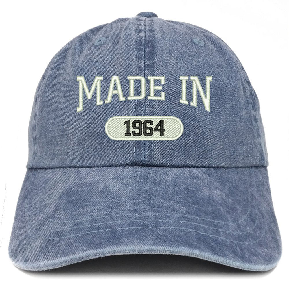 Trendy Apparel Shop Made in 1964 Embroidered 55th Birthday Washed Baseball Cap