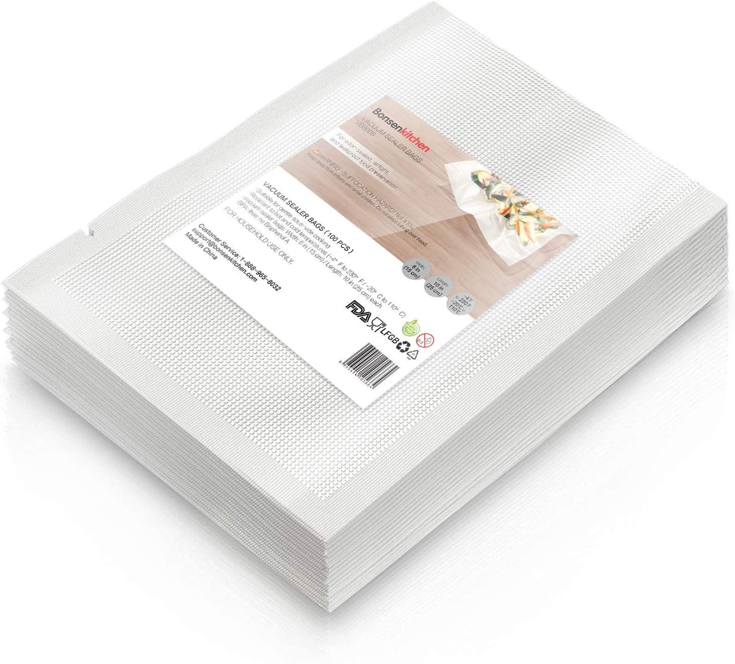 """Heavy Duty Vacuum Sealer Bags For Food, 100 Pint 6""""x 10"""" Food Saver Bag for FoodSaver, Seal a Meal, Geryon Vacuum Machine, Commercial Grade, BPA Free Vacuum Seal Bag Perfect for Sous Vide"""