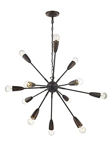 LeeZM 12 Light Sputnik Chandelier Brushed Black Gold Flush Mount Mid Century Starburst Style Ceiling Light Fixtures Modern Industrial Vintage Pendant Lighting for Kitchen Dining Room Bedroom Bronze