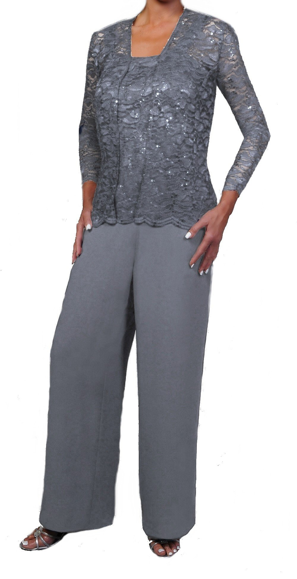 Love My Seamless Elegant Mother Of The Bride Formal 3 Piece Pant Suit Lightly Beaded Lace (3X, Silver)