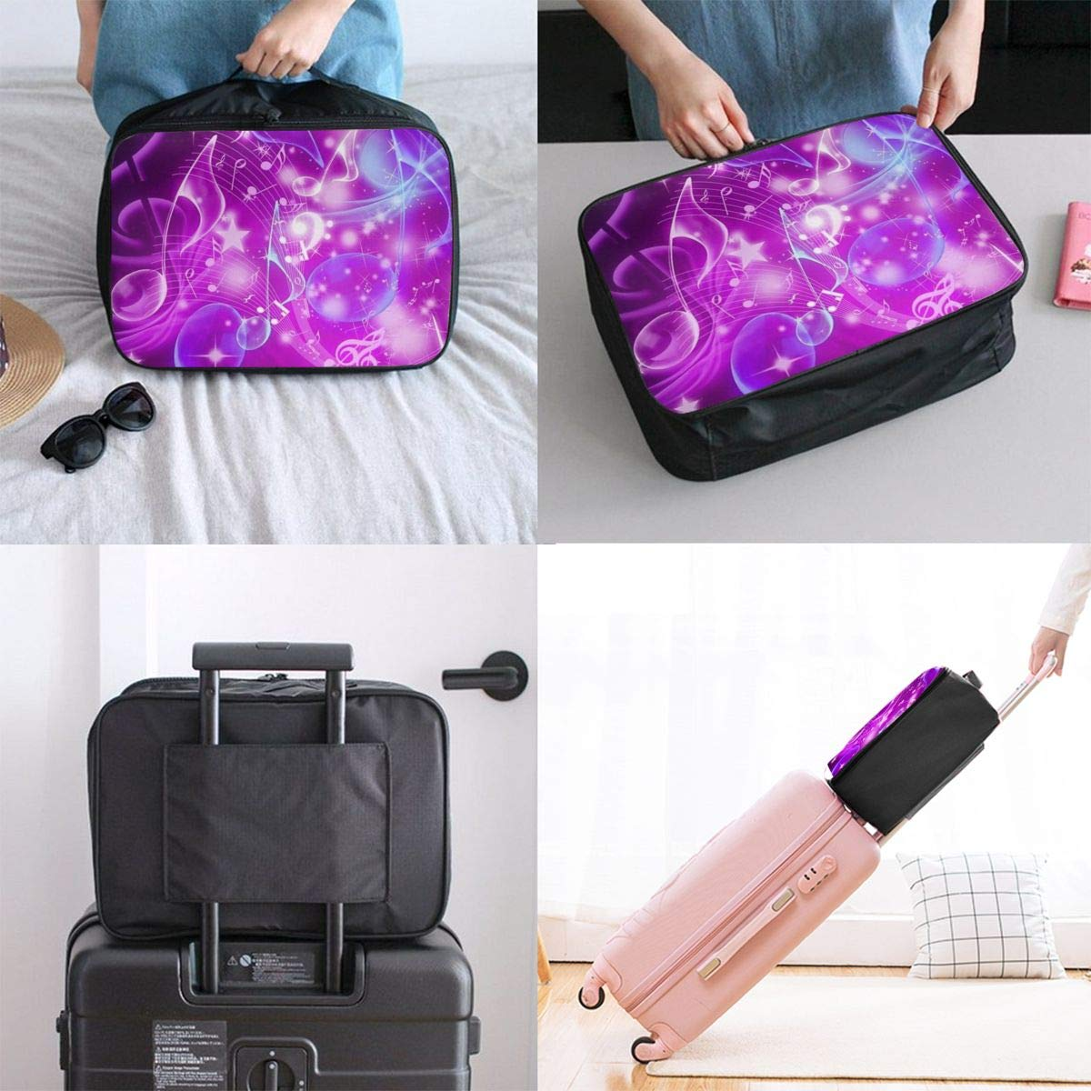 Music Note Purple Neon Travel Lightweight Waterproof Foldable Storage Portable Luggage Duffle Tote Bag Large Capacity In Trolley Handle Bags 6x11x15 Inch
