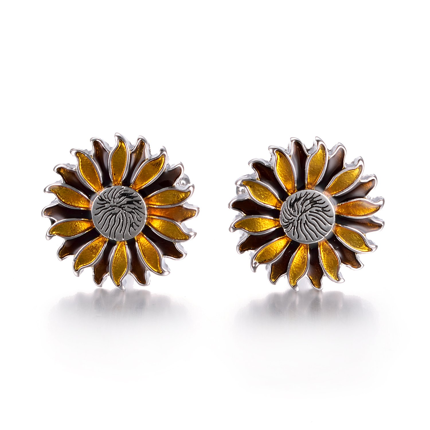 Yoursfs Sunflower Enamel Cufflinks Dark & Light Yellow Bullet Cufflinks Positive Fashion Cufflinks by Yoursfs (Image #2)
