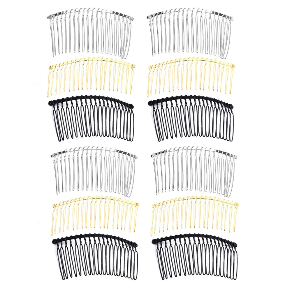 FRCOLOR 12Pcs Metal Wire Hair Comb Clip 20 Teeth DIY Hair Side Comb Pin for Women(Mixed Color)