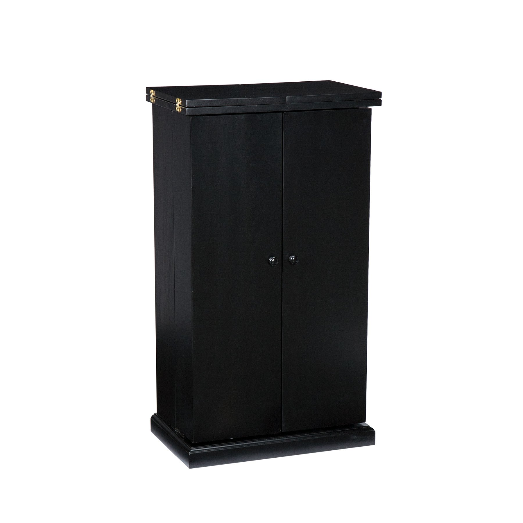 Southern Enterprises Space Saving Fold Away Bar Cabinet - Multiple Compartments - Deep Black Finish by Southern Enterprises