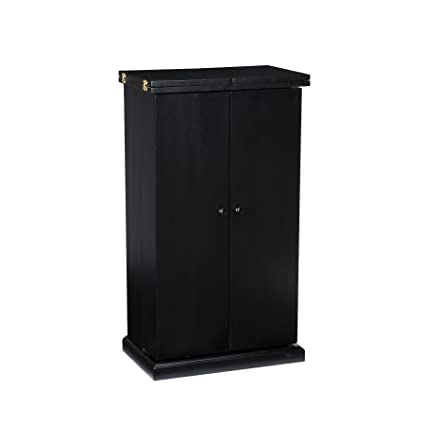 Southern Enterprises Fold Away Bar Cabinet, Black Finish